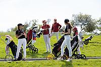 STANFORD, CA - APRIL 24: Aline Krauter, Allisen Corpuz, Katie Woodruff, Brooke Seay, Alyaa Abdulghany at Stanford Golf Course on April 24, 2021 in Stanford, California.