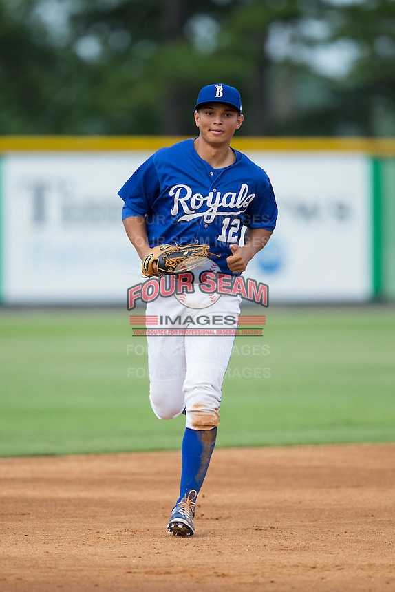 Burlington Royals center fielder Anderson Miller (12) jogs off the field between innings of the game against the Danville Braves at Burlington Athletic Park on July 12, 2015 in Burlington, North Carolina.  The Royals defeated the Braves 9-3. (Brian Westerholt/Four Seam Images)