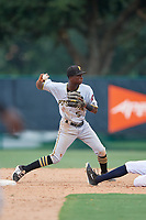 GCL Pirates shortstop Victor Ngoepe (5) throws to first base during a game against the GCL Braves on July 27, 2017 at ESPN Wide World of Sports Complex in Kissimmee, Florida.  GCL Braves defeated the GCL Pirates 8-6.  (Mike Janes/Four Seam Images)