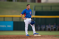 AZL Cubs 2 third baseman Grant Fennell (19) stands on second base during an Arizona League game against the AZL Rangers at Sloan Park on July 7, 2018 in Mesa, Arizona. AZL Rangers defeated AZL Cubs 2 11-2. (Zachary Lucy/Four Seam Images)