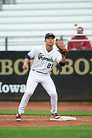 Cedar Rapids Kernels first baseman Zander Wiel (21) during the first game of a doubleheader against the Kane County Cougars on May 10, 2016 at Perfect Game Field in Cedar Rapids, Iowa.  Kane County defeated Cedar Rapids 2-0.  (Mike Janes/Four Seam Images)