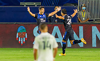 CARSON, CA - OCTOBER 14: Andres Rios #25 of the San Jose Earthquakes scores a goal and celebrates during a game between San Jose Earthquakes and Los Angeles Galaxy at Dignity Heath Sports Park on October 14, 2020 in Carson, California.