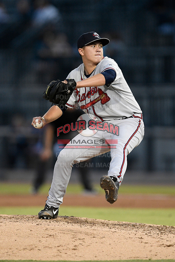 Pitcher Victor Vodnik (11) of the Rome Braves delivers a pitch in a game against the Columbia Fireflies on Tuesday, June 4, 2019, at Segra Park in Columbia, South Carolina. Columbia won, 3-2. (Tom Priddy/Four Seam Images)