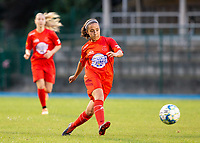 20200821 - Woluwe: Woluwe's Sonia Antunes Fernandes gives a pass during a friendly match between Femina WS Woluwe vs K Wuustwezel FC on 21th of August 2020, in Stade Fallon, Woluwe. PHOTO: Sportpix.be | SEVIL OKTEM