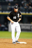 August 7, 2009:  Third Baseman Gordon Beckham (15) stands at second base during a game vs. the Cleveland Indians at U.S. Cellular Field in Chicago, IL.  The Indians defeated the White Sox 6-2.  Photo By Mike Janes/Four Seam Images