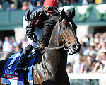 """Aoril 19, 2014:  Mr Speaker and jockey Jose Lezcano win the G3 Coolmore Lexington Stakes at Keeneland for owner Phipps Stable and trainer Claude R. """"Shug"""" McGaughey.Jessica Morgan/ESW/CSM"""