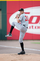 Indianapolis Indians starting pitcher Tyler Glasnow (26) warms up in the bullpen prior to the game against the Charlotte Knights at BB&T BallPark on June 17, 2016 in Charlotte, North Carolina.  The Knights defeated the Indians 4-0.  (Brian Westerholt/Four Seam Images)