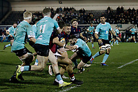Luke Hibberd of London Scottish tries to charge through during the Greene King IPA Championship match between London Scottish Football Club and Nottingham Rugby at Richmond Athletic Ground, Richmond, United Kingdom on 7 February 2020. Photo by Carlton Myrie.