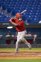 JuJu Stevens (47) of Amity Regional HS in Woodbridge, CT playing for the Boston Red Sox scout team during the East Coast Pro Showcase at the Hoover Met Complex on August 2, 2020 in Hoover, AL. (Brian Westerholt/Four Seam Images)
