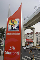 Women's World Cup signs are prominent throughout the city before the opening game of the FIFA Women's World Cup in Shanghai, China, on September 10, 2007.
