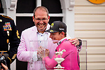 MAY 18: Tyler Gaffalione  with Gary Barber with wins the 144th running of the Preakness Stakes on War at Pimlico Racecourse in Baltimore, Maryland on May 18, 2019. Evers/Eclipse Sportswire/CSM