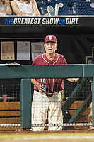 Florida State Seminoles Head coach Mike Martin (11) in the dugout during Game 9 of the NCAA College World Series against the Texas Tech Red Raiders on June 19, 2019 at TD Ameritrade Park in Omaha, Nebraska. Texas Tech defeated Florida State State 4-1. (Andrew Woolley/Four Seam Images)