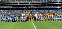 San Diego, CA - Sunday July 30, 2017: The starting eleven's for Japan and Australia  during a 2017 Tournament of Nations match between the women's national teams of the Australia (AUS) and Japan (JAP) at Qualcomm Stadium.