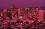 Retro Image of San Francisco downtownDowntown San Francisco illuminated at night from Corona Heights Park, San Francisco, California USA