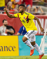 Tampa, FL - Thursday, October 11, 2018: Miguel Borja, Goal celebration during a USMNT match against Colombia.  Colombia defeated the USMNT 4-2.