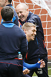 Rangers manager Mark Warburton laughing with Britain's top goalscorer at training