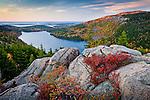 Sunrise alpenglow paints Jordan Pond in Acadia National Park, ME, USA