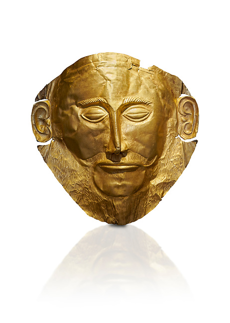 Mycenaean gold death mask, Mask of Agamemnon, Grave Cicle A, Mycenae, Greece.National Archaeological Museum of Athens.  White background.<br /> <br /> The mask from Grave V depicts an imposing face of a bearded man descovered by  Heinrich Schliemann who believed it was the body of Agamemnon, this is unproven to date.  The Mycenaean death mask belonged to a warrior and made of gold leaf it cocered the dead mans face held on by cord threaded tgrough the two sides of the mask.  The mask of Agamemnon was created from a single thick gold sheet, heated and hammered against a wooden background with the details chased on later with a sharp tool. The artifact dates from the 16th century BC.