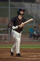 AZL Giants Black designated hitter Frankie Tostado (10) follows through on his swing during an Arizona League game against the AZL Athletics at the San Francisco Giants Training Complex on June 19, 2018 in Scottsdale, Arizona. AZL Athletics defeated AZL Giants Black 8-3. (Zachary Lucy/Four Seam Images)