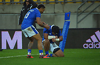 Samoa's Neria Formai celebrates his try during the international rugby match between Manu Samoa and the Maori All Blacks at Sky Stadium in Wellington, New Zealand on Saturday, 26 June 2021. Photo: Dave Lintott / lintottphoto.co.nz