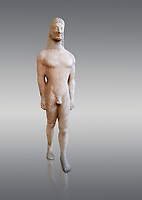 Naxian marble Ancient Greek Archaic statue of a kouros, found on Thera, circa 590-570 BC BC, Athens National Archaeological Museum. Cat no 8.  Against grey.<br /> <br /> This statue is typical of a Thera island workshop