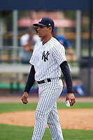 GCL Yankees East Deivi Diaz (9) during the second game of a doubleheader against the GCL Blue Jays on July 24, 2017 at the Yankees Minor League Complex in Tampa, Florida.  GCL Yankees East defeated the GCL Blue Jays 7-3.  (Mike Janes/Four Seam Images)