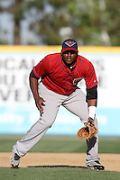 Telvin Nash #32 of the Lancaster JetHawks takes infield before a game against the Rancho Cucamonga Quakes at The Epicenter on April 10, 2012 in Rancho Cucamonga,California.  Rancho Cucamonga defeated Lancaster 7-5.(Larry Goren/Four Seam Images)