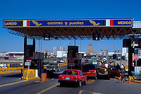 Customs checkpoint on International Bridge #1 leaving Mexico to enter US at Laredo, Texas. Nuevo Laredo Tamaulipas Mexico.