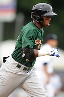Savannah Sand Gnats second baseman Jorge Rivero #7 runs to first during a game against the Asheville Tourists at McCormick Field on July 30, 2013 in Asheville, North Carolina. The Sand Gnats won the game 9-5. (Tony Farlow/Four Seam Images)