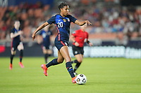 HOUSTON, TX - JUNE 13: Margaret Purce #20 of the United States dribbles with the ball during a game between Jamaica and USWNT at BBVA Stadium on June 13, 2021 in Houston, Texas.