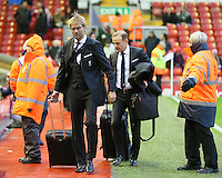 Liverpool manager Jurgen Klopp arrives before the Barclays Premier League match between Liverpool and Swansea City played at The Anfield Stadium on November 29th 2015