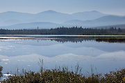 Pondicherry Wildlife Refuge - Reflection of mountain range in Cherry Pond in Jefferson, New Hampshire. This refuge was designated a National Natural Landmark in 1974 by the National Park Service.