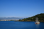 The Turquoise Coast between Fethiye and the port of Marmaris during Stage 4 of the 2015 Presidential Tour of Turkey running 132km from Fethiye to Marmaris. 29th April 2015.<br /> Photo: Tour of Turkey/Steve Thomas/www.newsfile.ie