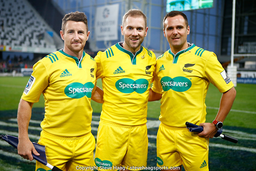 Australian referee Angus Gardner with assistants during the Super Rugby match between the Pulse Energy Highlanders and the Cell C Sharks at the Forsyth Barr Stadium in Dunedin, New Zealand on Friday, 7 February 2020. Photo Steve Haag / stevehaagsports.com
