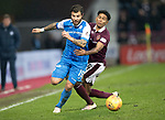 Hearts v St Johnstone…03.02.18…  Tynecastle…  SPFL<br />Richie Foster is fouled by Demetri Mitchell<br />Picture by Graeme Hart. <br />Copyright Perthshire Picture Agency<br />Tel: 01738 623350  Mobile: 07990 594431