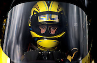 Sept. 1, 2013; Clermont, IN, USA: NHRA top fuel dragster driver Morgan Lucas during qualifying for the US Nationals at Lucas Oil Raceway. Mandatory Credit: Mark J. Rebilas-