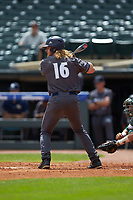 Coleman Poje (16) of the Georgia Tech Yellow Jackets at bat against the Miami Hurricanes during game one of the 2017 ACC Baseball Championship at Louisville Slugger Field on May 23, 2017 in Louisville, Kentucky. The Hurricanes walked-off the Yellow Jackets 6-5 in 13 innings. (Brian Westerholt/Four Seam Images)