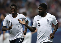 International friendly football match France vs Italy, Allianz Riviera, Nice, France, June 1, 2018. <br /> France's Samuel Umtiti (r) celebrates after scoring with his teammate Ousmane Debele (l) during the international friendly football match between France and Italy at the Allianz Riviera in Nice on June 1, 2018.<br /> UPDATE IMAGES PRESS/Isabella Bonotto