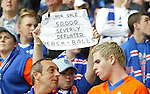 Rangers fans take the piss out of Celtic who flopped in the UEFA Cup Final in Seville just before the match at Ibrox where Rangers were crowned SPL Champions for a record fiftieth time