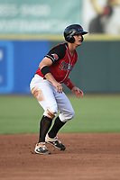Josh Jung (15) of the Hickory Crawdads takes a lead off second base during a game against the Kannapolis Intimidators at L.P. Frans Stadium on July 16, 2019 in Hickory, North Carolina. The Crawdads defeated the Intimidators 5-4. (Tracy Proffitt/Four Seam Images)