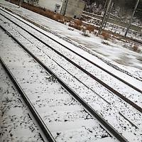 binari in inverno  winter train rail
