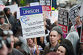 Health workers, trade unions, patients and local residents protest outside the Royal London Hospital against the Health and Social Care Bill and cuts in NHS services.