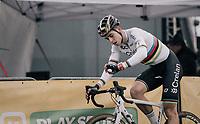 CX world champion Wout Van Aert (BEL/Crelan-Charles) crossing the finish line<br /> <br /> Super Prestige Ruddervoorde / Belgium 2017