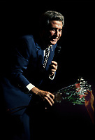 1994 File photo, <br /> French singer Gilbert Becaud receive roses from a fan at Montreal's Francofolies 1994<br /> Photo :  Images Distribution