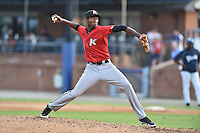 Kannapolis Intimidators pitcher Jose Brito #37 delivers a pitch to the plate during a game against the  Asheville Tourists at McCormick Field on June 7, 2014 in Asheville, North Carolina. The Tourists defeated the Intimidators 7-5. (Tony Farlow/Four Seam Images)
