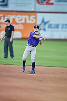 Hunter Stovall (1) of the Grand Junction Rockies throws to first base during a game against the Ogden Raptors at Lindquist Field on September 7, 2018 in Ogden, Utah. The Rockies defeated the Raptors 8-5. (Stephen Smith/Four Seam Images)