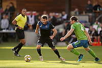 SAN JOSE, CA - SEPTEMBER 29: Vako #11 of the San Jose Earthquakes is marked by Gustav Svensson #4 of the Seattle Sounders FC during a Major League Soccer (MLS) match between the San Jose Earthquakes and the Seattle Sounders on September 29, 2019 at Avaya Stadium in San Jose, California.