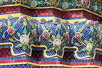 Bangkok, Thailand.  Ceramic Decoration on the Phra Maha Chedi of King Rama IV, in the Wat Pho Compound of the Reclining Buddha.