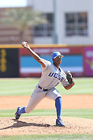Dillon Tate (17) of the UC Santa Barbara Gouchos pitches during a game against the Cal State Northridge Matadors at Matador Field on April 10, 2015 in Northridge, California. UC Santa Barbara defeated Cal State Northridge, 7-4. (Larry Goren/Four Seam Images)