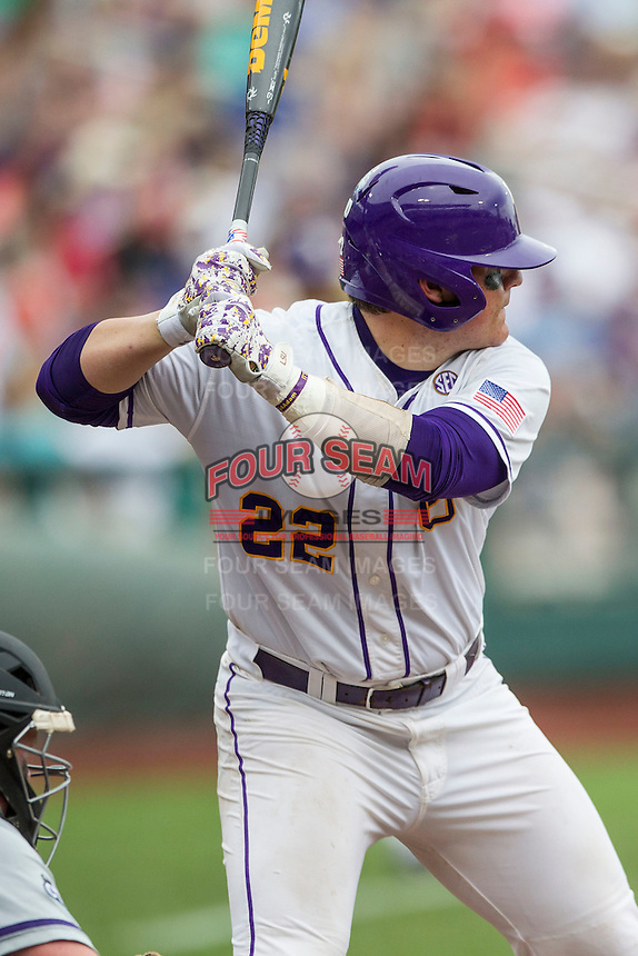 LSU Tigers catcher Kade Scivicque (22) at bat against the TCU Horned Frogs in the NCAA College World Series on June 14, 2015 at TD Ameritrade Park in Omaha, Nebraska. TCU defeated LSU 10-3. (Andrew Woolley/Four Seam Images)